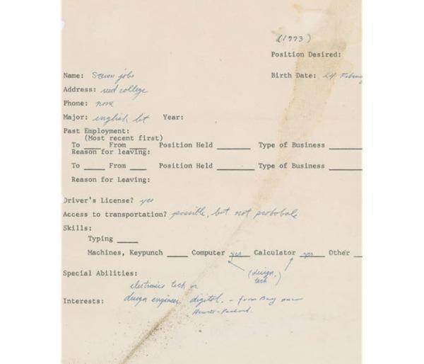 درخواست کار سال 1973 استیو جابز هم به صورت NFT و هم فیزیکی به حراج گذاشته شد!